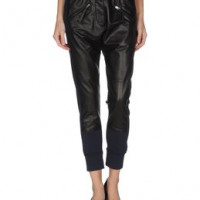 PINKO GREY LEATHERWEAR Leather trousers WOMEN on YOOX.COM