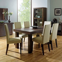 Walnut Akita medium extending table & four taper back ivory upholstered chairs